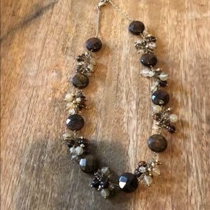 Brown and gold beaded necklace 8""